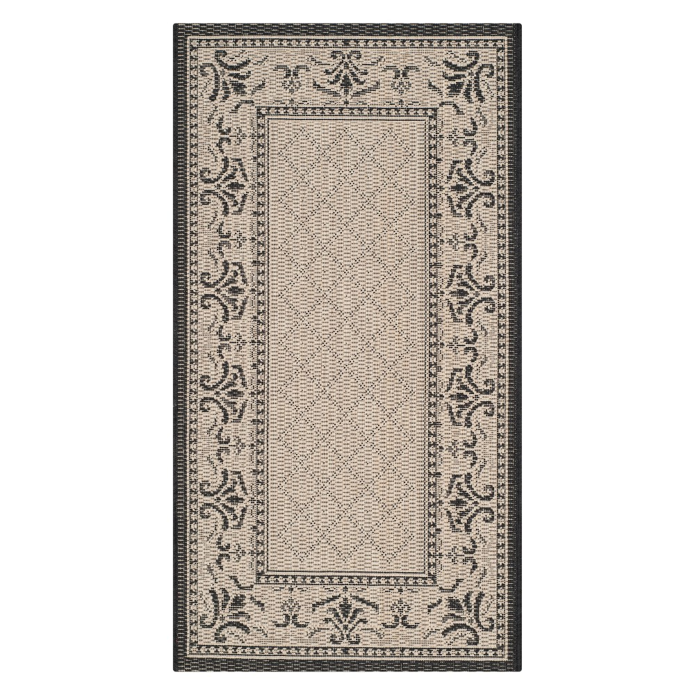 Alicante 2'7 x 5' Outdoor Rug Sand/Black - Safavieh, Brown