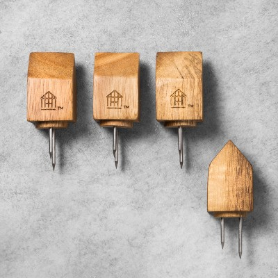 4pk Acacia House Wooden Corn Holders - Hearth & Hand™ with Magnolia