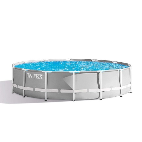 Intex 14ft x 42in Prism Frame Above Ground Outdoor Swimming Pool Set with  Filter