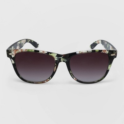 Women's Floral Print Surfer Shade Plastic Crystal Silhouette Sunglasses - Wild Fable™
