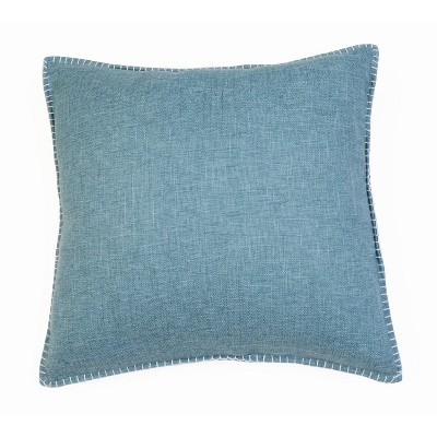 "2pk 20"" Georgetown Chunky Weave Whipstitch Pillow Light Blue - Décor Therapy"
