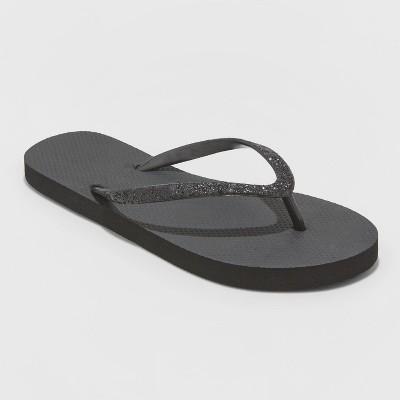 Women's Brynn Glitter Flip Flop Sandals - Shade & Shore™ Black 8