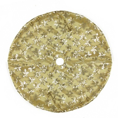 "Northlight 20"" Gold Sequin Snowflake Pattern Mini Christmas Tree Skirt"