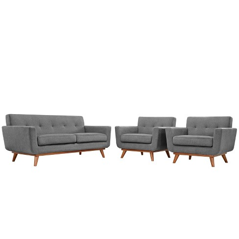 Engage Armchairs and Loveseat Set of 3 Expectation Gray - Modway - image 1 of 6