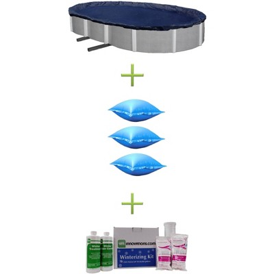 18x38 Blue Oval Above Ground Swimming Pool Cover + Air Pillows + Winterizing Kit