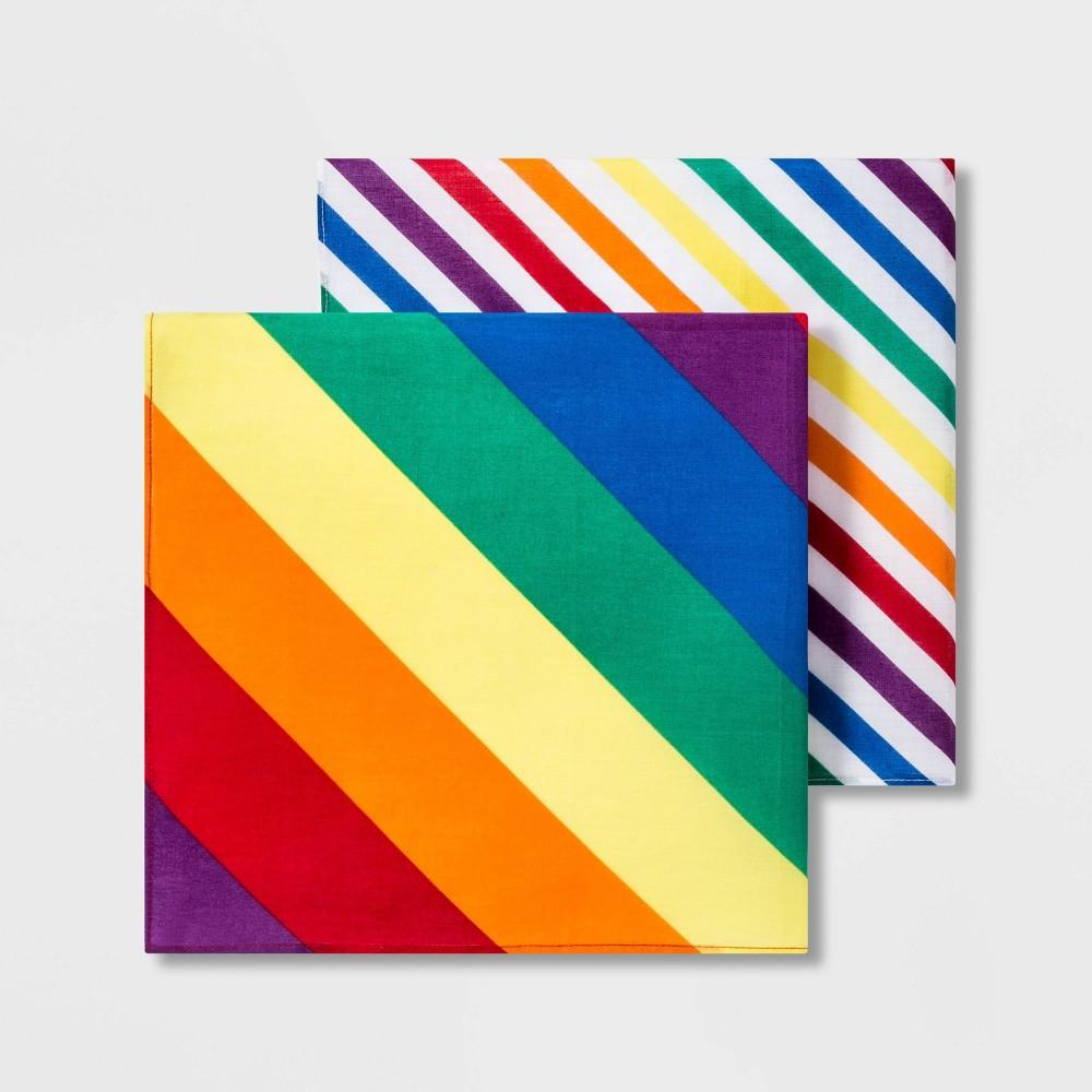 Pride Striped Flag Bandana 2pk set - Rainbow One Size