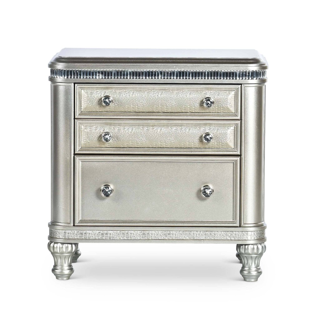 Midtown 2 Drawers Nightstand Platinum (White) - Steve Silver