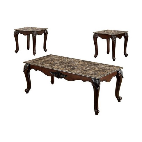 Set of 3 Traditional Coffee Table Dark Cherry Brown - Benzara - image 1 of 1