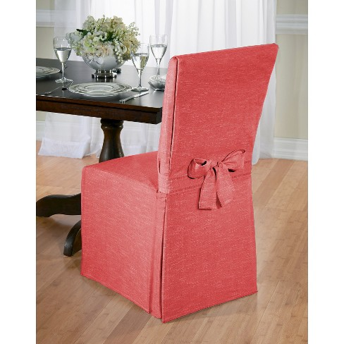 Red Chambray Dining Room Chair Slipcover