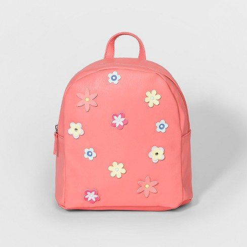 Girls' Floral Design Mini Backpack - Cat & Jack™ Peach - image 1 of 2