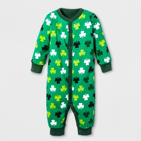 0a85b29dcbf Snooze Button Baby St. Patrick s Day Clover Print Family Union Suit ...