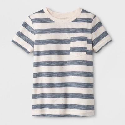 Toddler Boys' Pocket Short Sleeve T-Shirt - Cat & Jack™ Blue Stripe 12M