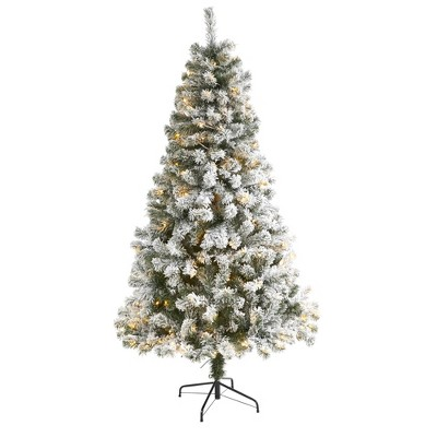 6ft Nearly Natural Pre-Lit LED Flocked West Virginia Fir Artificial Christmas Tree Clear Lights
