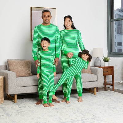 Green Striped 100% Cotton Matching Family Pajamas Collection