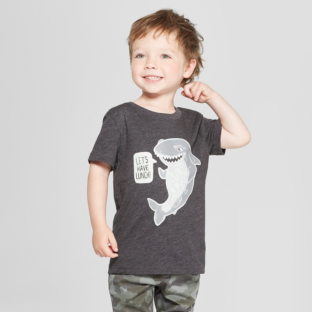 Toddler Boys' Let's Have Lunch Short Sleeve T-Shirt - Cat & Jack Charcoal Gray 4T, Black