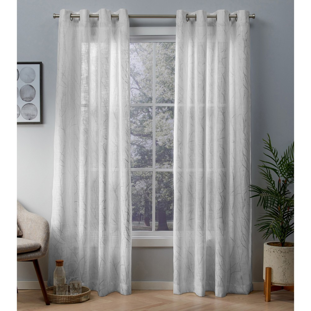 Woodland Printed Metallic Branch Textured Linen Sheer Grommet Top Window Curtain Panel Pair Winter Silver 54x96 - Exclusive Home, White/Silver