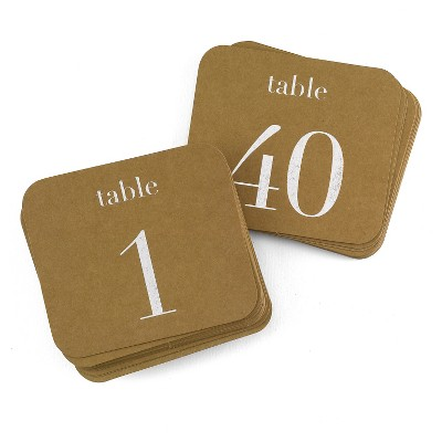 """40ct """"1-40"""" Kraft Table Number Cards"""