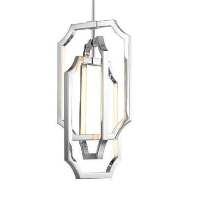 "Audrie 6-Light 26"" Polished Nickel LED Modern Ceiling Chandelier F2954/6PN"