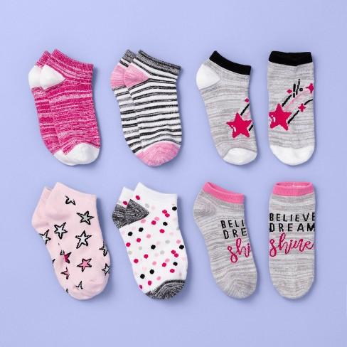 Girls' 6pk Star Print Super Soft No Show Socks - More Than Magic™ Pink - image 1 of 2