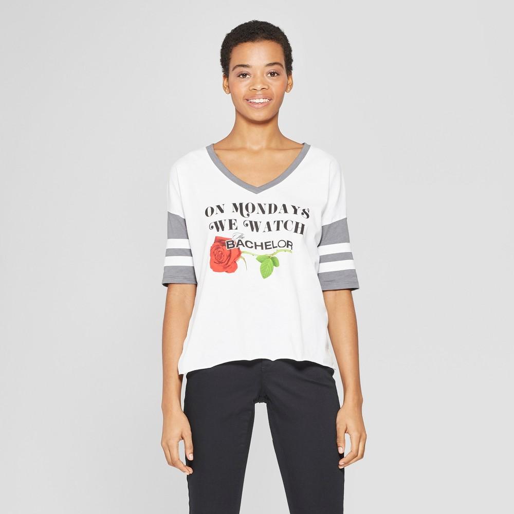 Women's Striped Short Sleeve The Bachelor Rose T-Shirt - (Juniors') White/Gray S