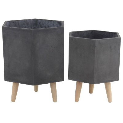 Set of 2 Farmhouse Hexagonal Ceramic and Fiber Clay Planters with Stands - Olivia & May