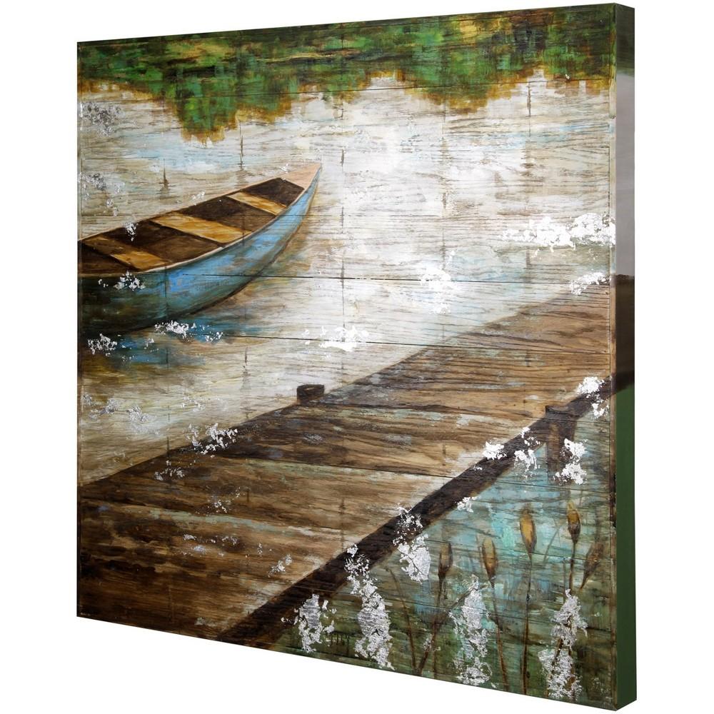40 Wooden Slat Panel Hand Embellished Decorative Wall Art - StyleCraft, Multi-Colored