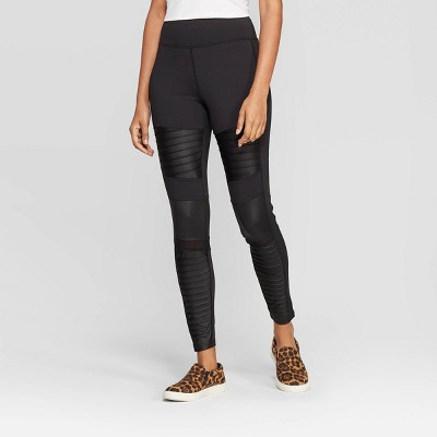 Women's High Waist Moto Leggings - A New Day™ Black