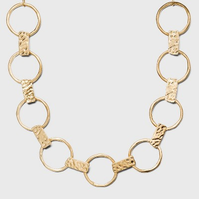 Worn Gold Hammered Metal with Rings Necklace - A New Day™ Gold