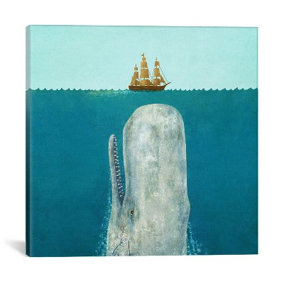 37 x37  The Whale Square by Terry Fan Unframed Wall Canvas Print Atlantic Blue - iCanvas