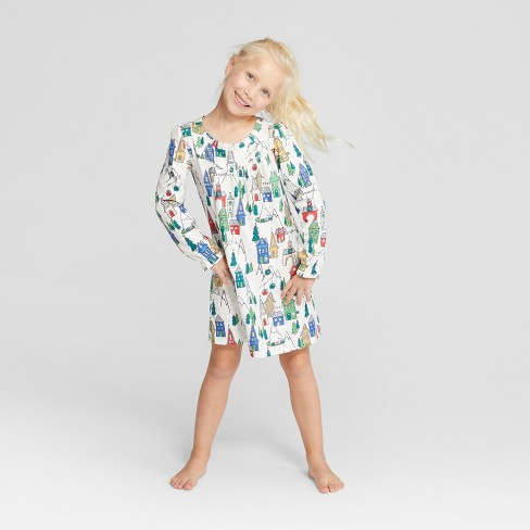 cdaa4e7e5 Girls  Holiday Winter Wonderland Notch Collar Mommy And Me Nightgown ...