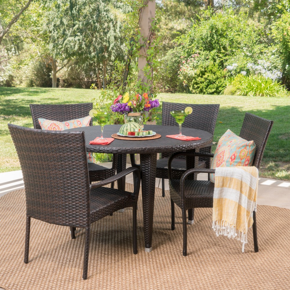 Seal 5pc Wicker Dining Set - Brown - Christopher Knight Home