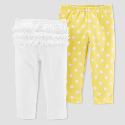 Baby Girls' 2pk Dot/Ruffle Pants - Just One You® made by carter's Yellow/White 3M