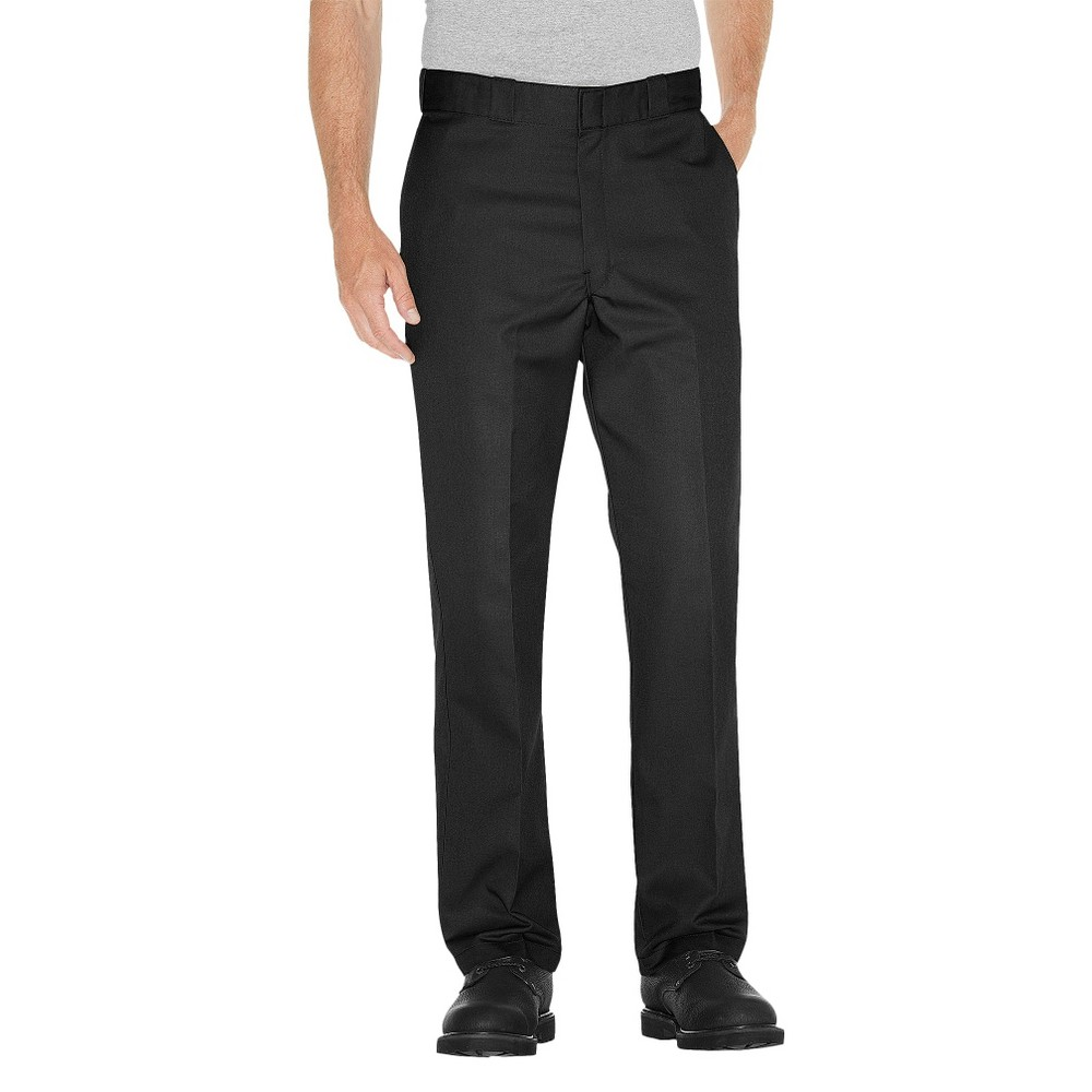 Dickies Men's Regular Straight Fit Twill Work Pants with Extra Pocket- Black 40x30