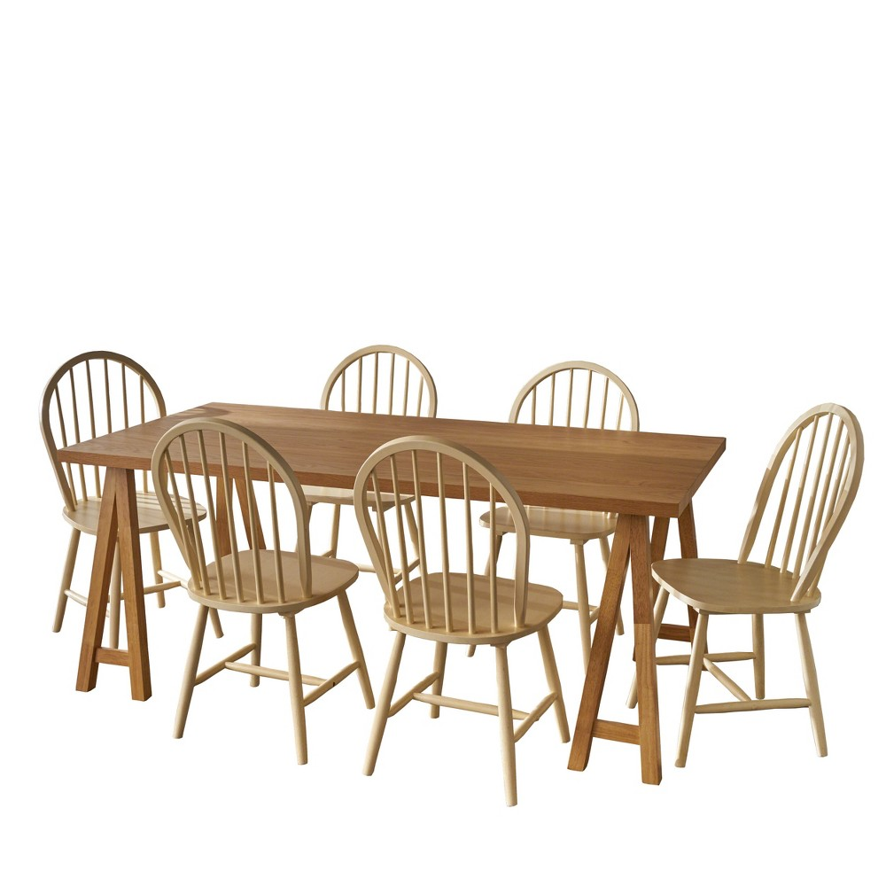 7pc Ansley Farmhouse Cottage Dining Set Natural Oak - Christopher Knight Home