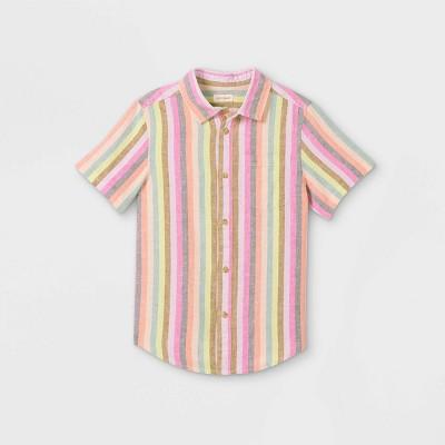Boys' Striped Button-Down Short Sleeve Shirt - Cat & Jack™ Pink