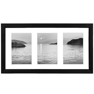 """Americanflat Collage Picture Frame in Black with Three Displays of 4"""" x 6"""" Shatter Resistant Glass for Wall"""