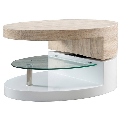 Maynard Circular Rotatable Coffee Table w/ Glass Glossy White/Oak - Christopher Knight Home - image 1 of 4