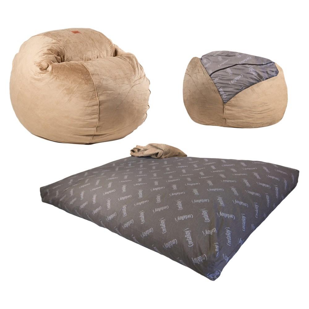 Cordaroys Camel Plush Velour Convertible Bean Bag Chair - Full