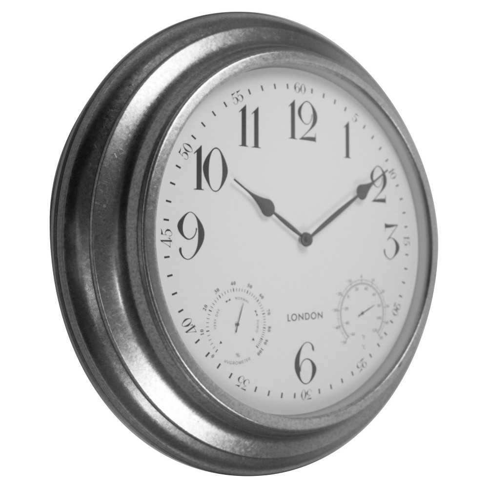 24 Outdoor Metal (Grey) Decor Clock with Thermometer & Hygrometer - Backyard Expressions