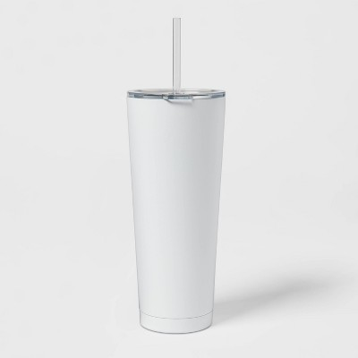 25oz Stainless Steel Vacuum Straw Tumbler with Tritan Lid Solid True White - Room Essentials™