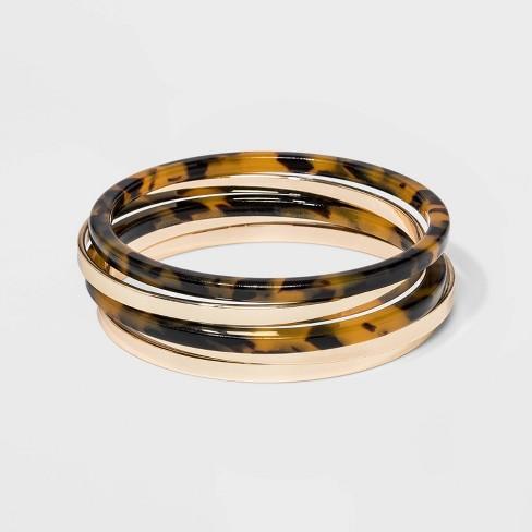Bangle Bracelet 5pc A New Day Tortoise Gold
