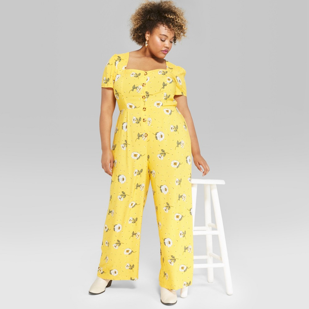 Women's Plus Size Floral Print Short Sleeve Button Front Jumpsuit - Wild Fable Yellow 4X