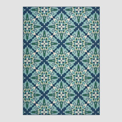8' x 11' Kaia Medallion Outdoor Rug Blue/Green - Christopher Knight Home