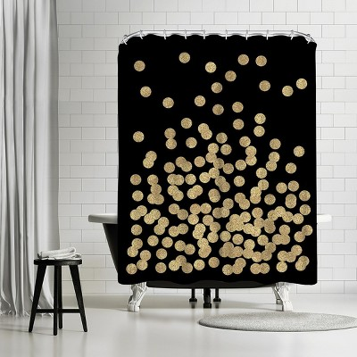 """Americanflat Gold Glitter Dots by Charlotte Winter 71"""" x 74"""" Shower Curtain"""