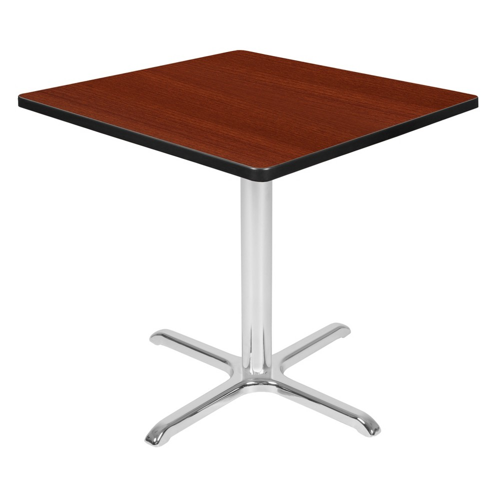 30 Via Square X - Base Table Cherry/Chrome (Red/Grey) - Regency