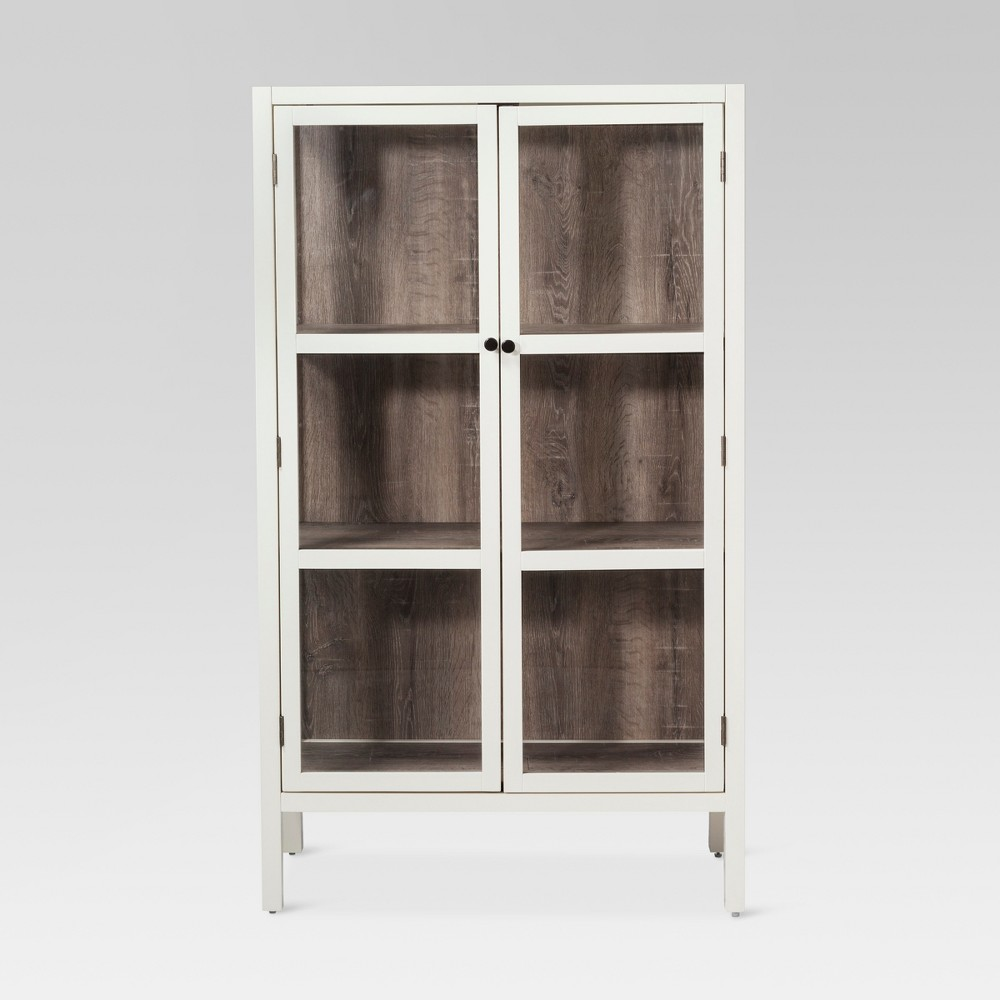 56.2 Hadley Library Cabinet with Glass Shell White - Threshold
