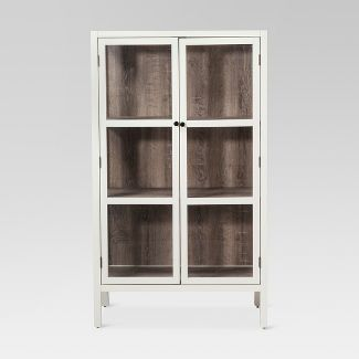 "56.2"" Hadley Library Cabinet with Glass Shell White - Threshold™"