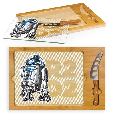 Star Wars R2-D2 Icon Glass Top Wood Serving Tray with Knife Set by Picnic Time