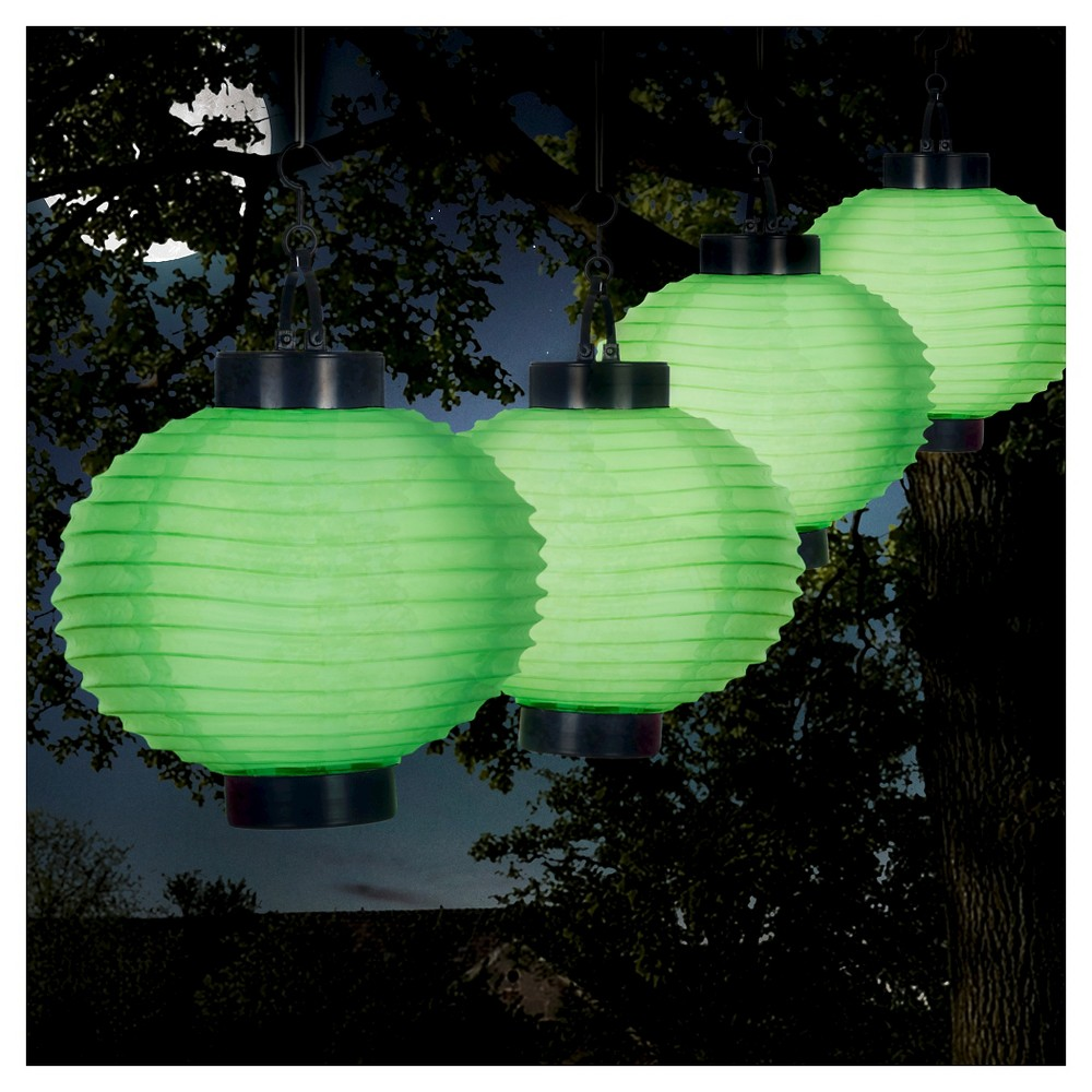 Pure Garden Outdoor Solar Chinese Lanterns Set of 4 - Green