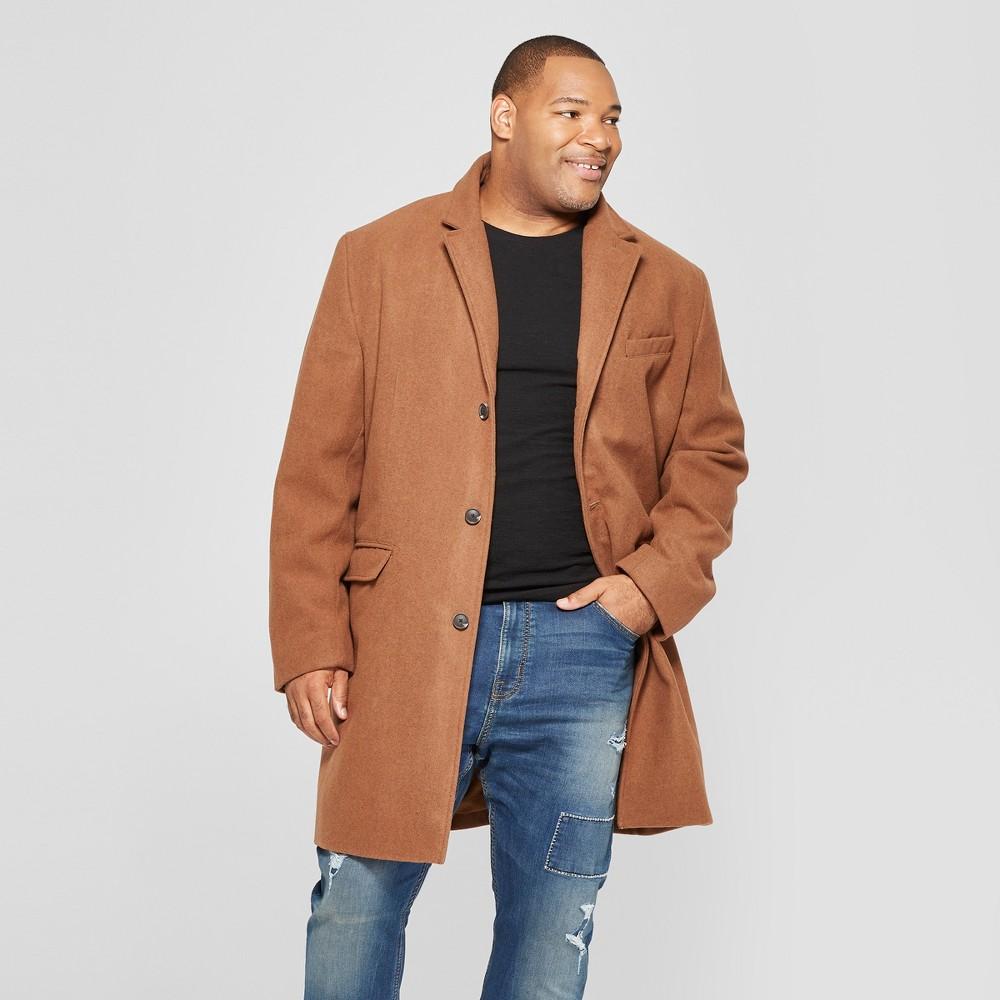 Men's Big & Tall Wool Overcoat Jacket - Goodfellow & Co Brown 2XB